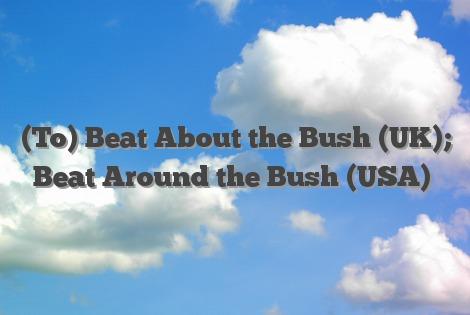 (To) Beat About the Bush (UK); Beat Around the Bush (USA)