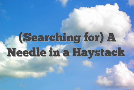 (Searching for) A Needle in a Haystack