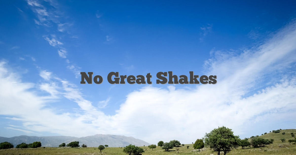 No Great Shakes