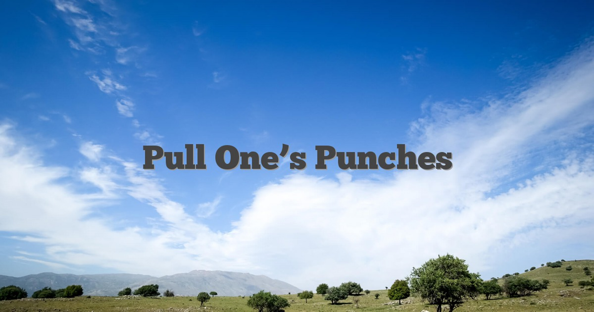 Pull One's Punches