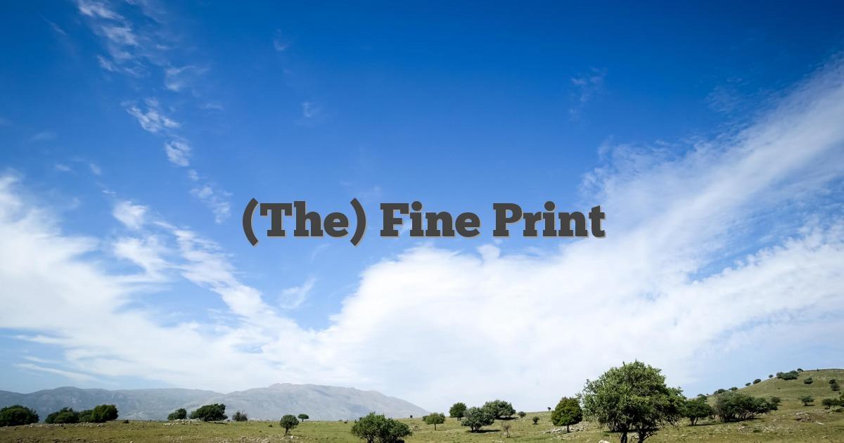 (The) Fine Print
