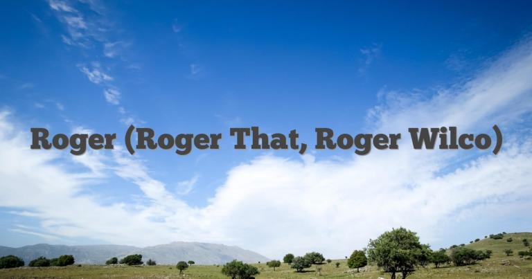 Roger (Roger That, Roger Wilco)